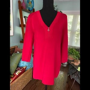 Red V-Neck tunic sweater with front zip.